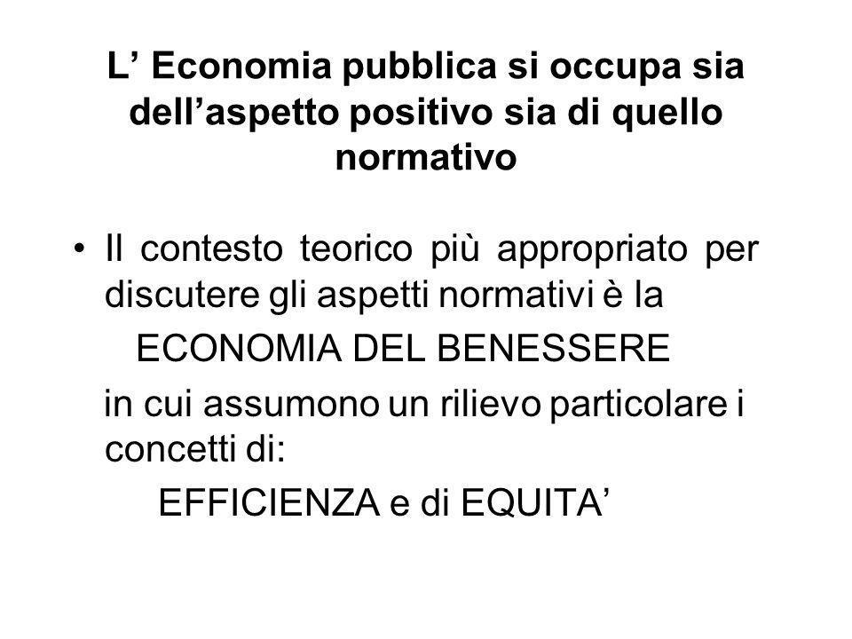L' Economia pubblica si occupa sia dell'aspetto positivo sia di quello normativo