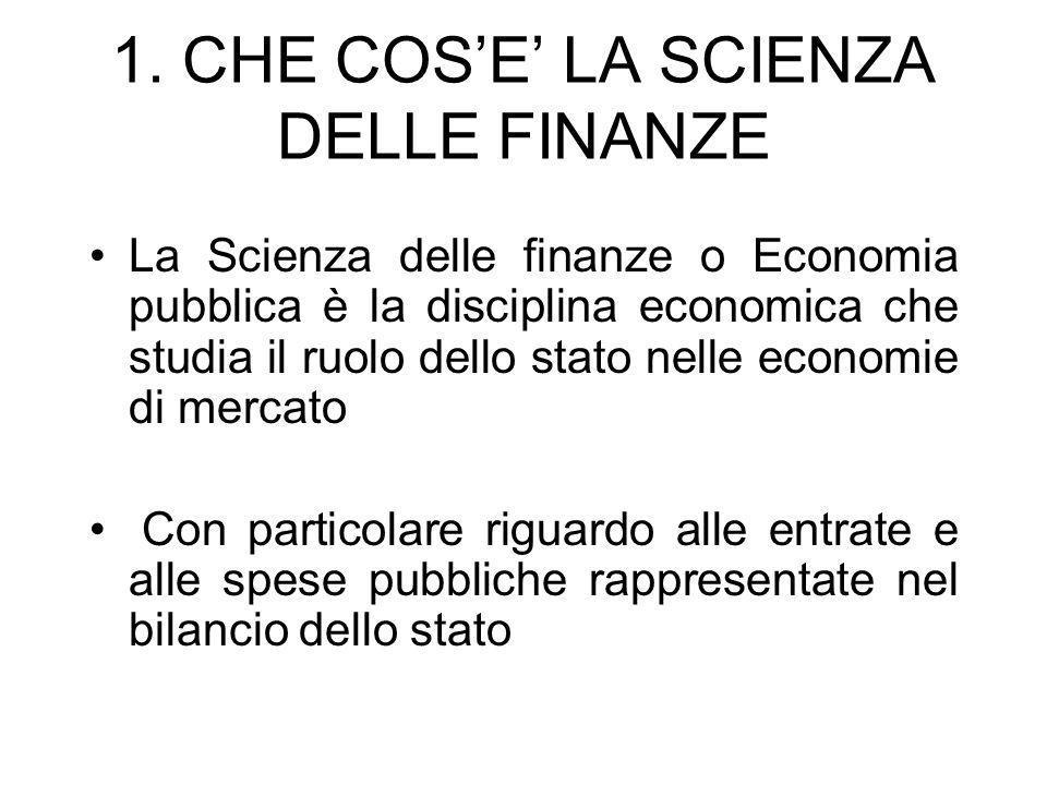 1. CHE COS'E' LA SCIENZA DELLE FINANZE