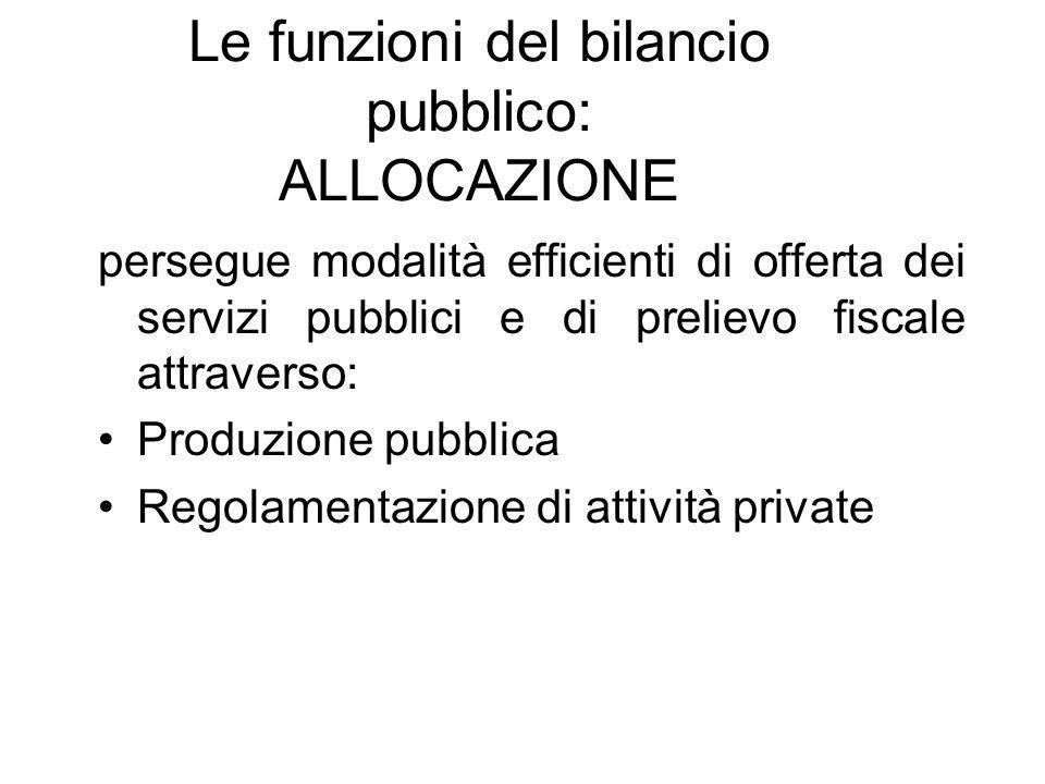 Le funzioni del bilancio pubblico: ALLOCAZIONE