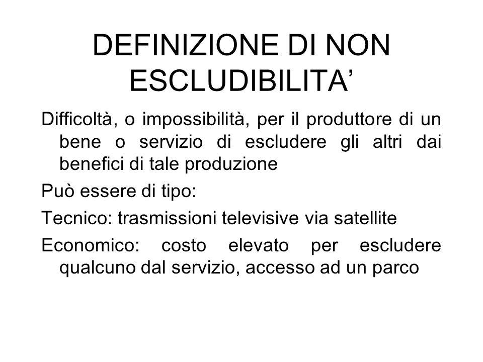 DEFINIZIONE DI NON ESCLUDIBILITA'