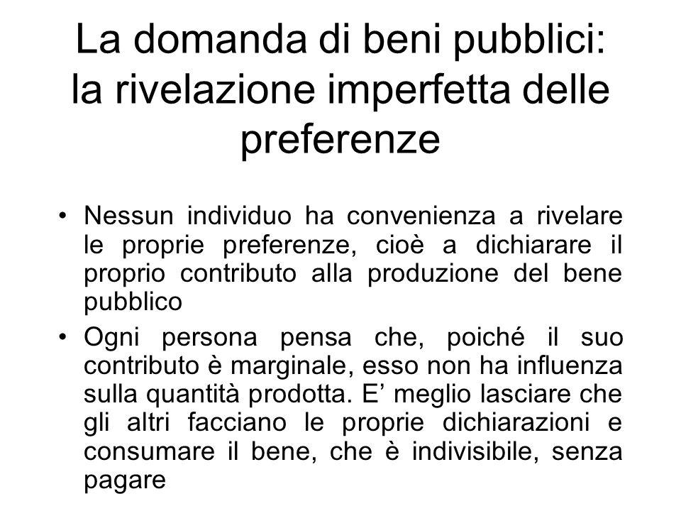 La domanda di beni pubblici: la rivelazione imperfetta delle preferenze