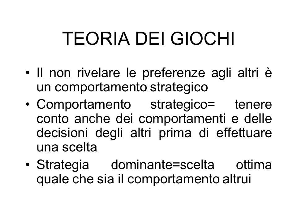 TEORIA DEI GIOCHIIl non rivelare le preferenze agli altri è un comportamento strategico.