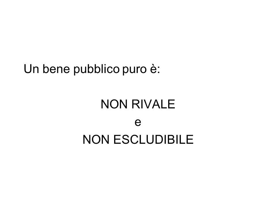 Un bene pubblico puro è: