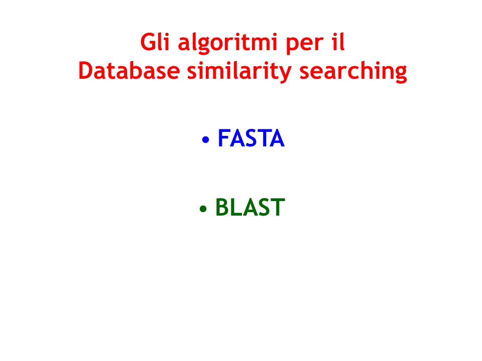 Gli algoritmi per il Database similarity searching