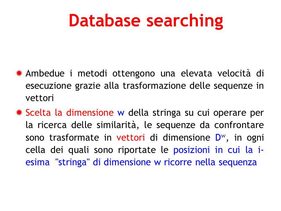 Database searching Ambedue i metodi ottengono una elevata velocità di esecuzione grazie alla trasformazione delle sequenze in vettori.