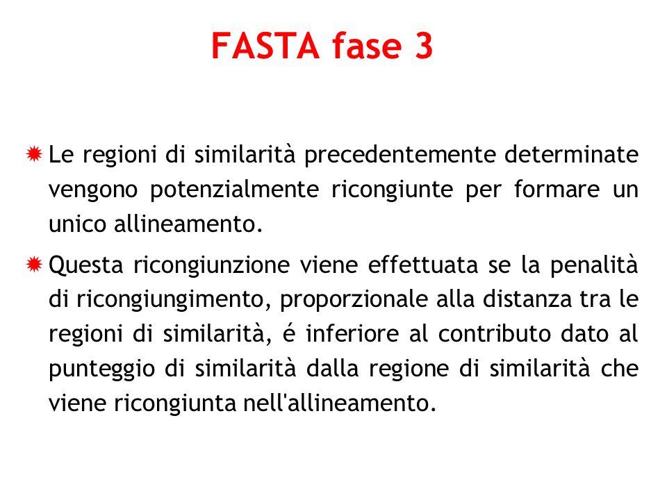 FASTA fase 3 Le regioni di similarità precedentemente determinate vengono potenzialmente ricongiunte per formare un unico allineamento.