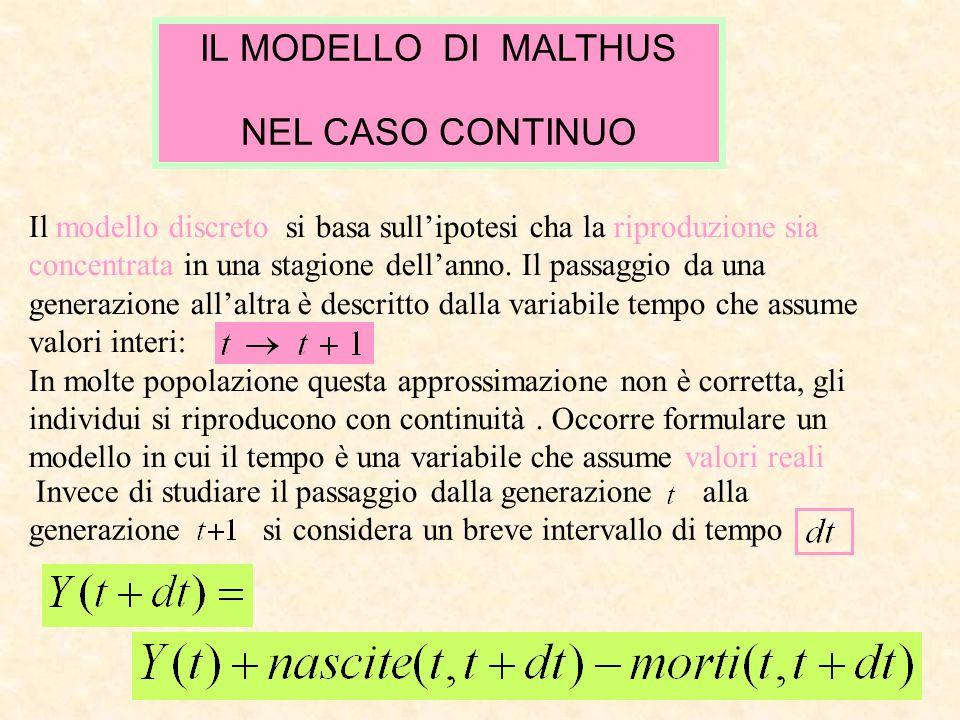 IL MODELLO DI MALTHUS NEL CASO CONTINUO