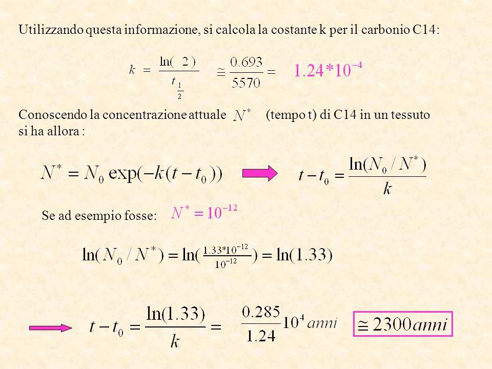Utilizzando questa informazione, si calcola la costante k per il carbonio C14: