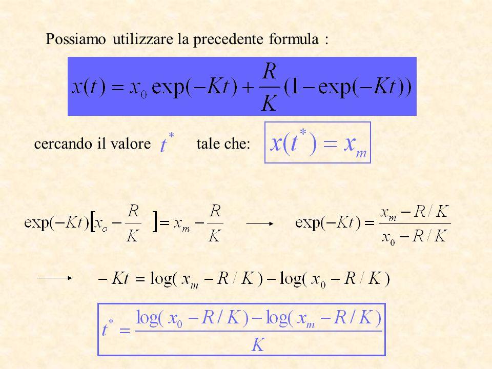 Possiamo utilizzare la precedente formula :