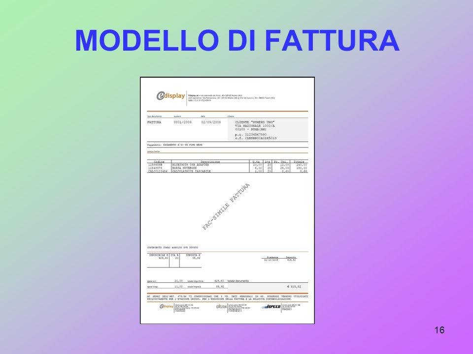 MODELLO DI FATTURA