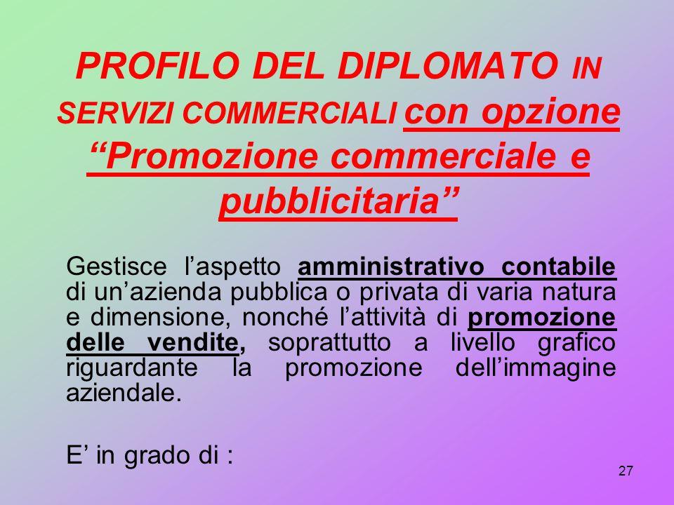 PROFILO DEL DIPLOMATO IN SERVIZI COMMERCIALI con opzione Promozione commerciale e pubblicitaria