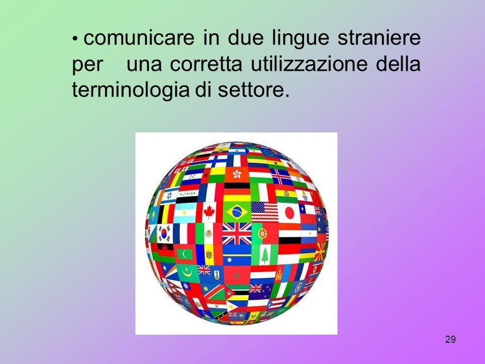 comunicare in due lingue straniere per una corretta utilizzazione della terminologia di settore.