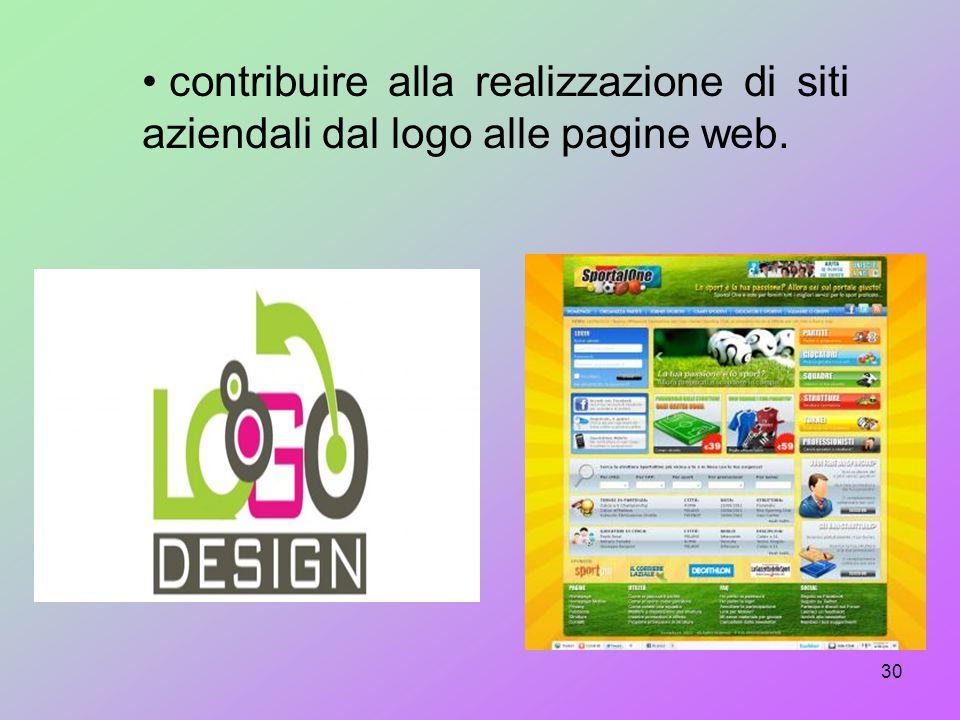contribuire alla realizzazione di siti aziendali dal logo alle pagine web.