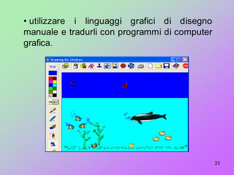 utilizzare i linguaggi grafici di disegno manuale e tradurli con programmi di computer grafica.