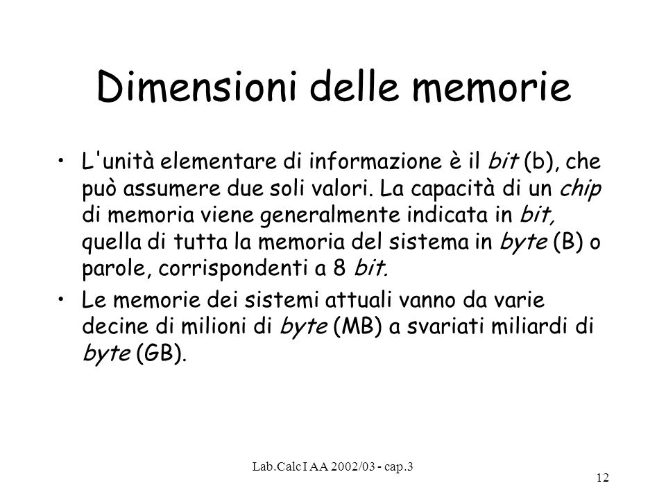Dimensioni delle memorie