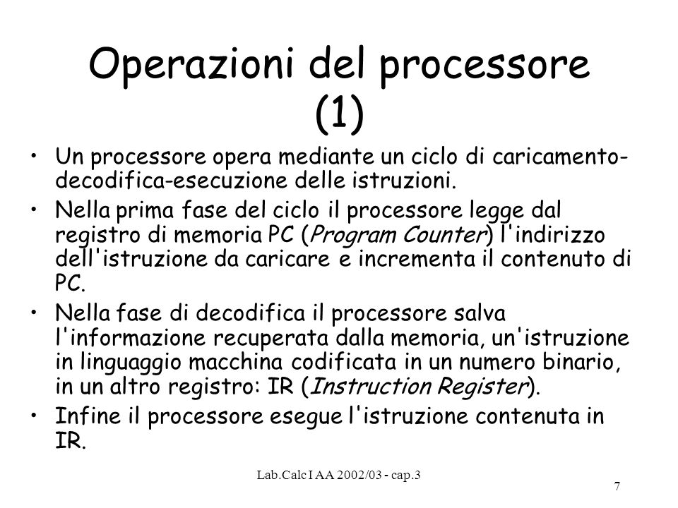 Operazioni del processore (1)