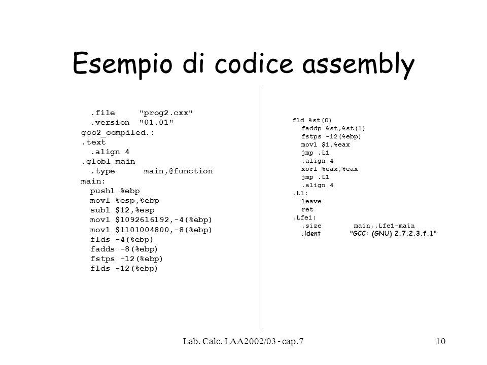 Esempio di codice assembly