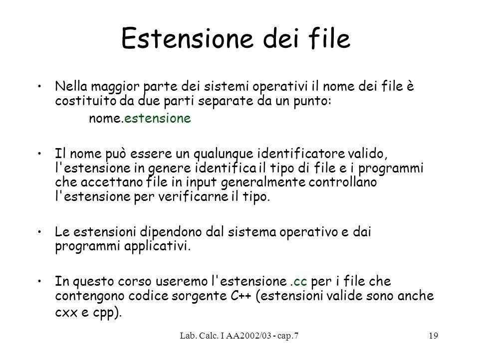Estensione dei file Nella maggior parte dei sistemi operativi il nome dei file è costituito da due parti separate da un punto: