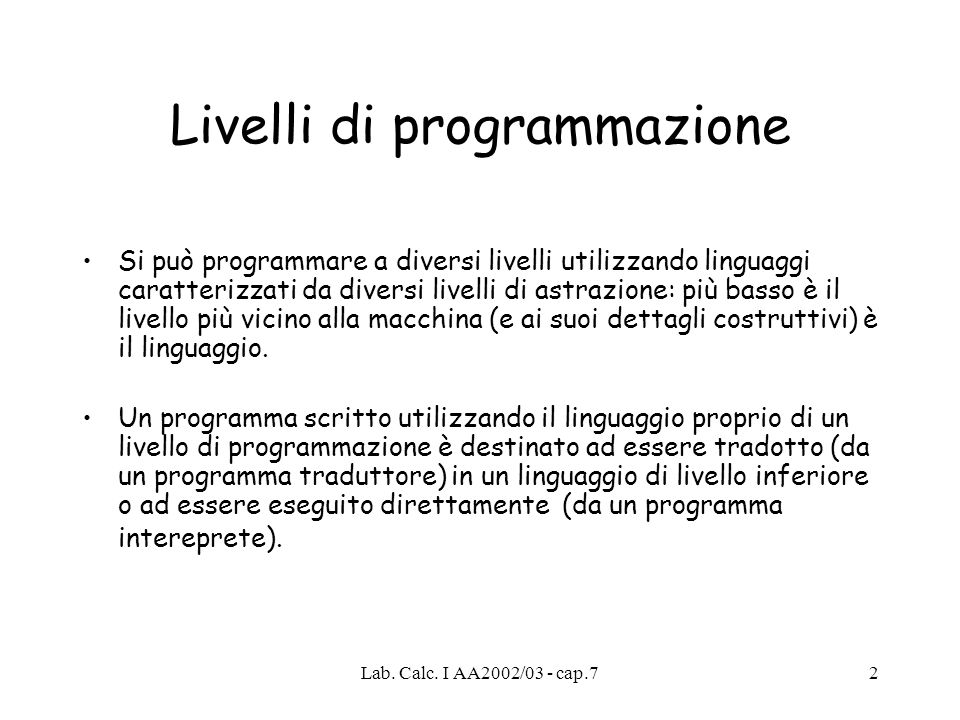 Livelli di programmazione