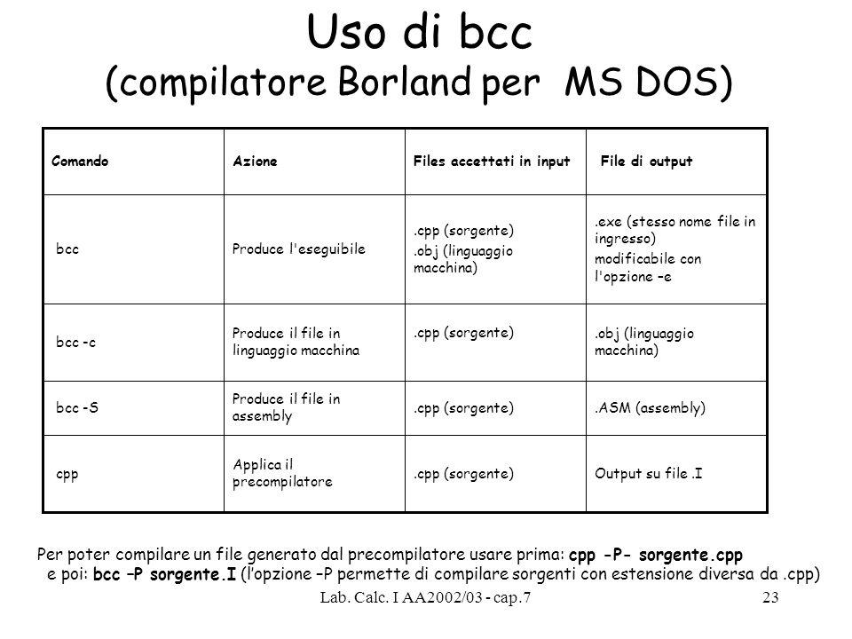 Uso di bcc (compilatore Borland per MS DOS)