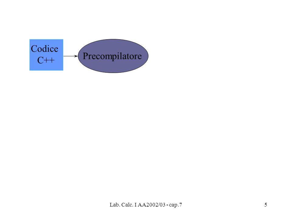 Codice C++ Precompilatore Lab. Calc. I AA2002/03 - cap.7