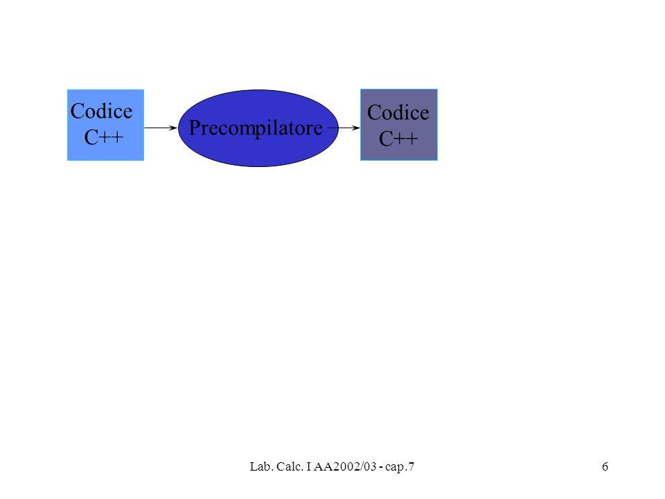 Codice C++ Codice C++ Precompilatore Lab. Calc. I AA2002/03 - cap.7