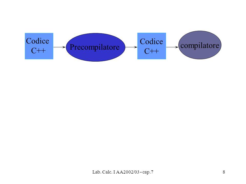 Codice Codice compilatore C++ C++ Precompilatore