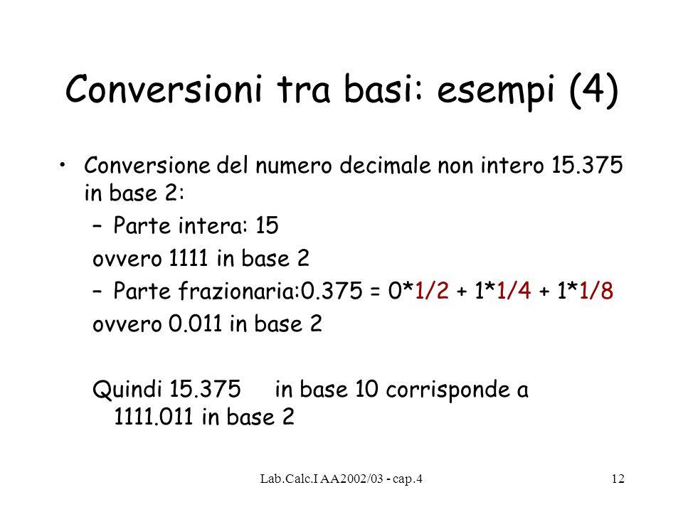 Conversioni tra basi: esempi (4)