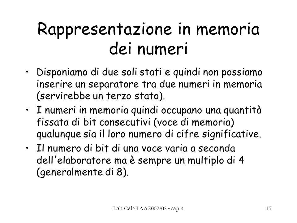 Rappresentazione in memoria dei numeri