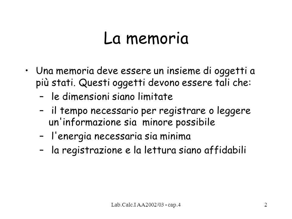 La memoria Una memoria deve essere un insieme di oggetti a più stati. Questi oggetti devono essere tali che: