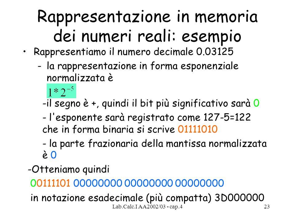 Rappresentazione in memoria dei numeri reali: esempio