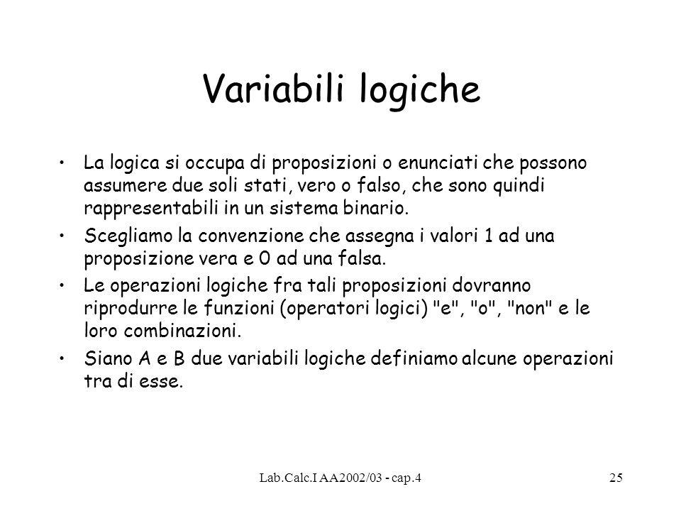 Variabili logiche