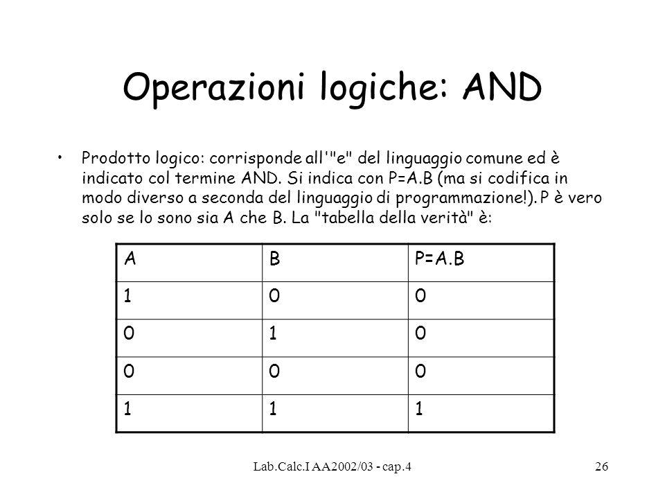Operazioni logiche: AND