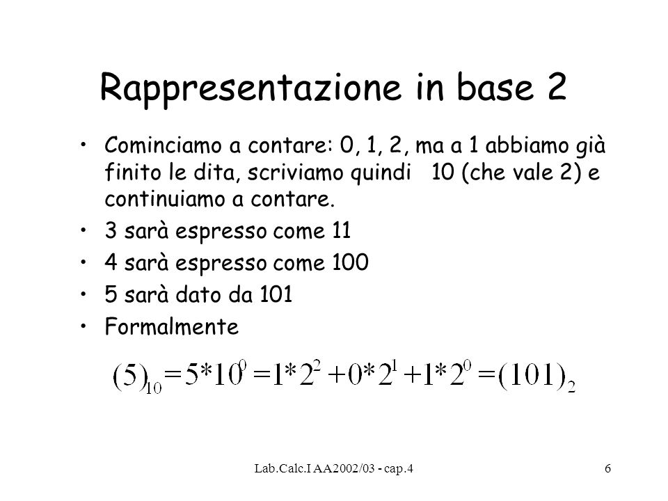 Rappresentazione in base 2