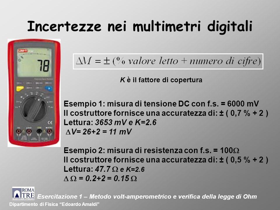 Incertezze nei multimetri digitali