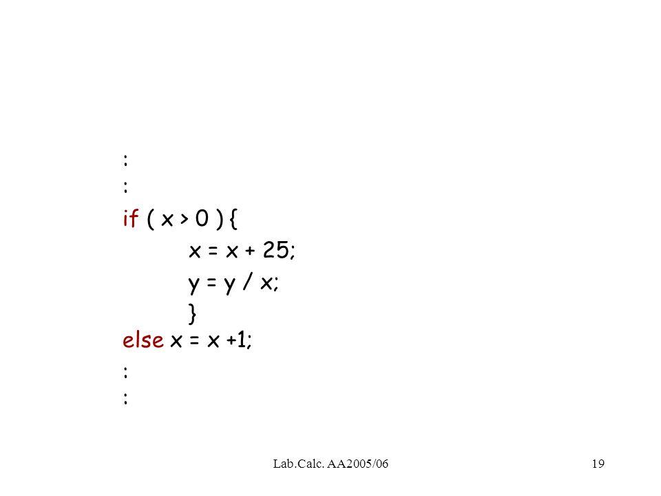 : : if ( x > 0 ) { x = x + 25; y = y / x; } else x = x +1;