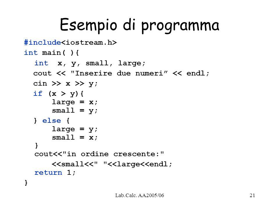 Esempio di programma #include<iostream.h> int main( ){