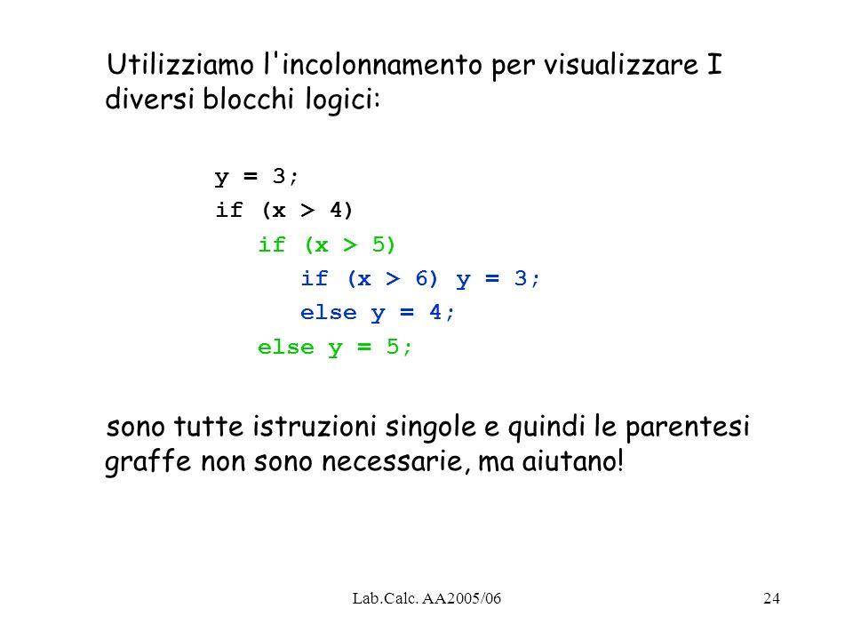 Utilizziamo l incolonnamento per visualizzare I diversi blocchi logici: