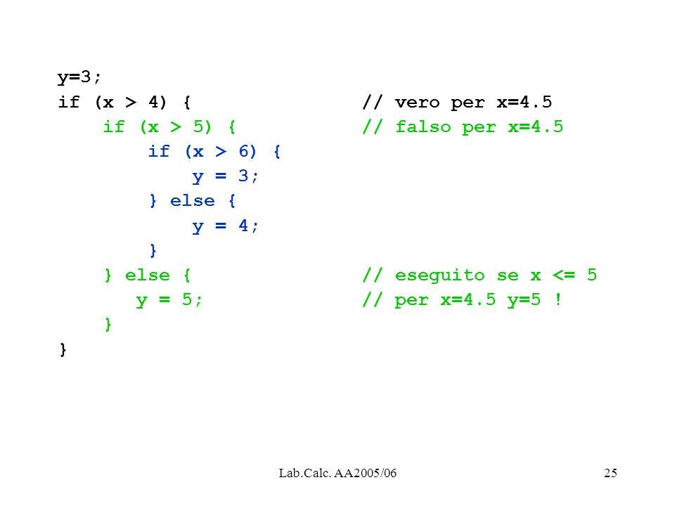 if (x > 4) { // vero per x=4.5 if (x > 5) { // falso per x=4.5