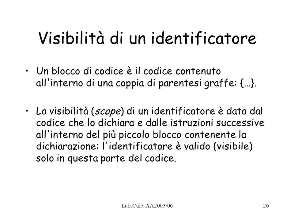 Visibilità di un identificatore