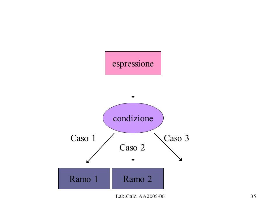 espressione condizione Caso 1 Caso 3 Caso 2 Ramo 1 Ramo 2