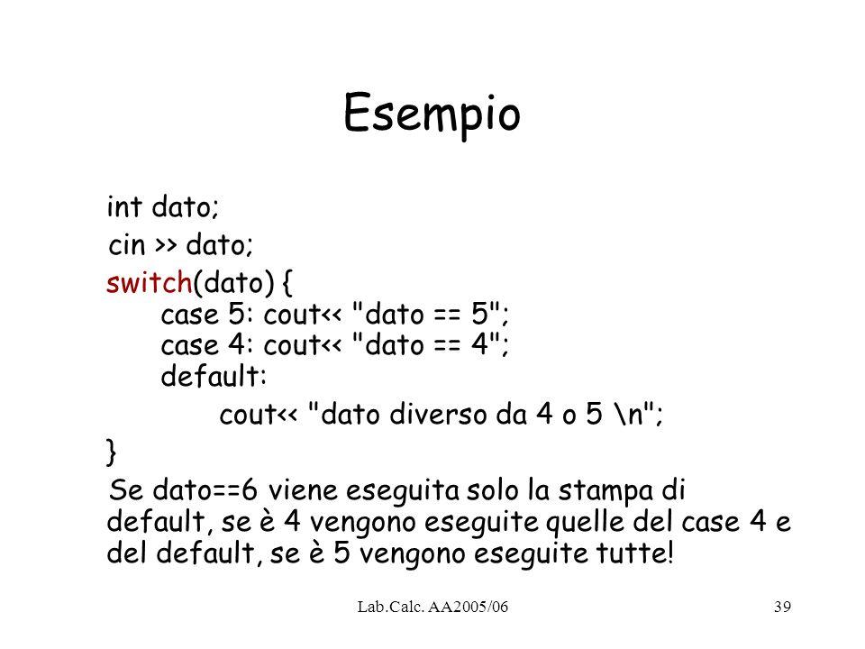 Esempio int dato; cin >> dato;