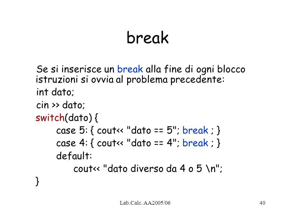 break Se si inserisce un break alla fine di ogni blocco istruzioni si ovvia al problema precedente: