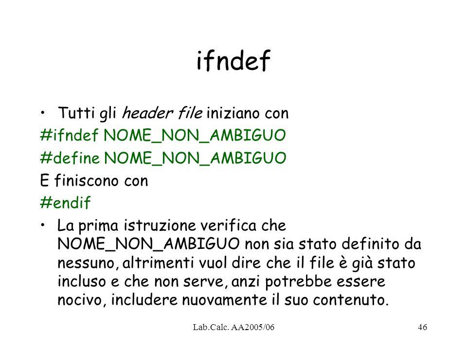 ifndef Tutti gli header file iniziano con #ifndef NOME_NON_AMBIGUO