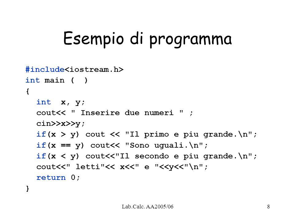 Esempio di programma #include<iostream.h> int main ( ) {