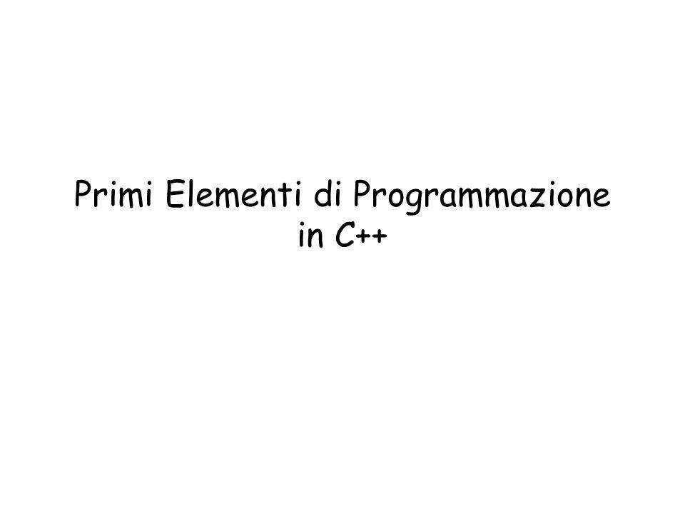 Primi Elementi di Programmazione in C++
