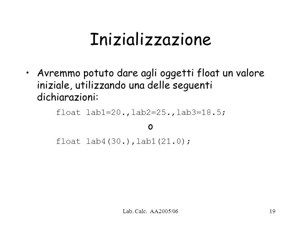 Inizializzazione Avremmo potuto dare agli oggetti float un valore iniziale, utilizzando una delle seguenti dichiarazioni:
