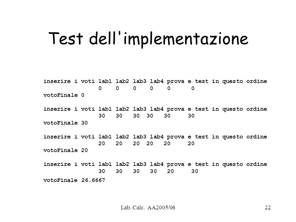 Test dell implementazione