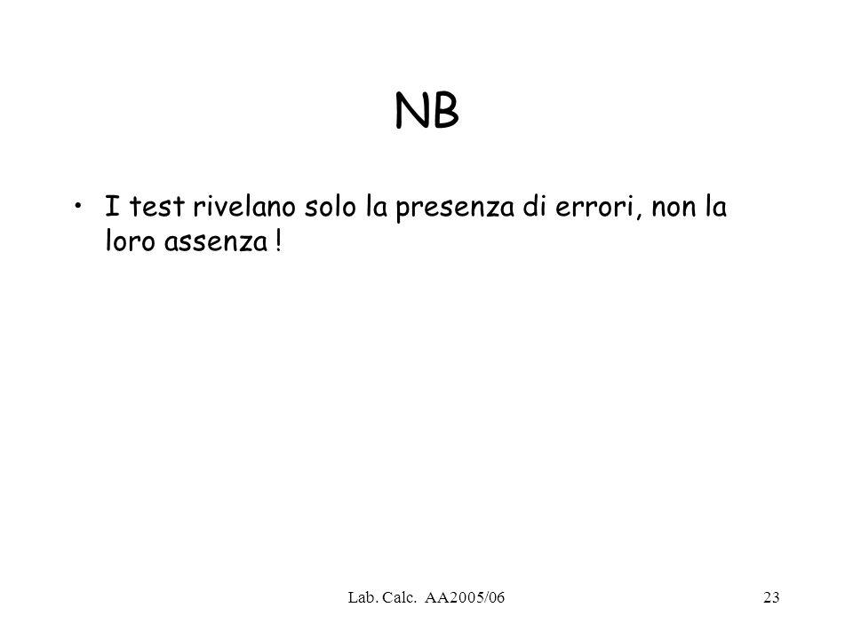NB I test rivelano solo la presenza di errori, non la loro assenza !