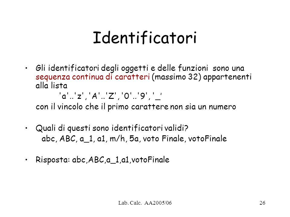 Identificatori Gli identificatori degli oggetti e delle funzioni sono una sequenza continua di caratteri (massimo 32) appartenenti alla lista.
